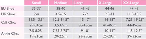 Size Chart For Solidea Relax Unisex 70 Flight Socks